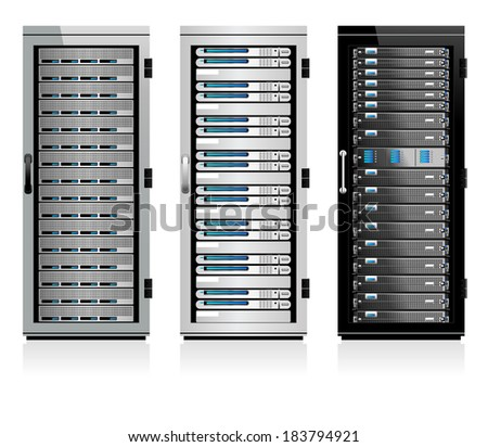 Three Data Storage Systems - Raster Version - stock photo