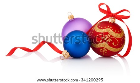 Three decorations Christmas ball with ribbon bow isolated on white background - stock photo