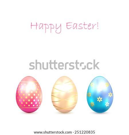 Three decorative Easter eggs isolated on white background, illustration. - stock photo