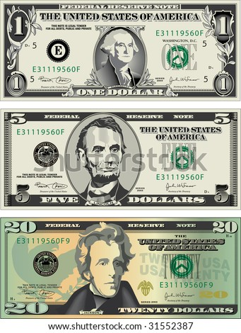 Three detailed, Stylized drawings of American Bills