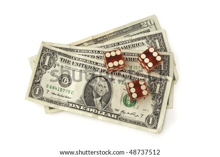 Three dice and some dollar bills shown from straight above on white background. The three dice show the number six. Saved with clipping path - stock photo