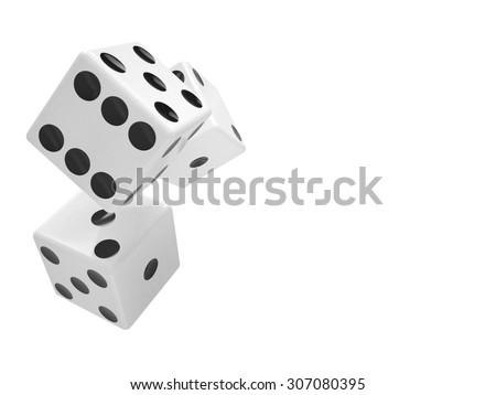 three dices on white background - stock photo