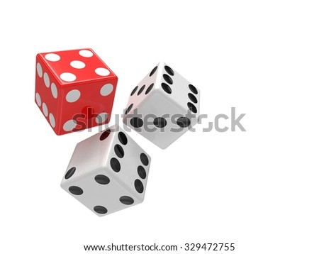 three dices on white background