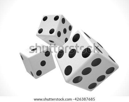 three dices on white background. 3d rendering.