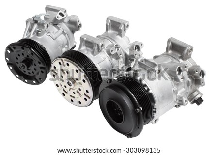 Three different air conditioning compressor for different car engines, isolated on white background - stock photo