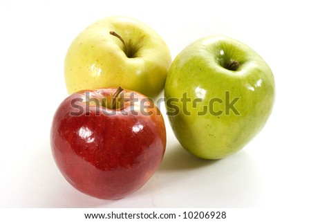 Three different apples isolated on white with clipping path