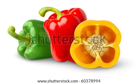 Three different bell peppers - stock photo