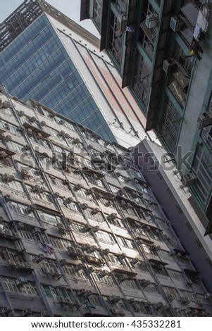Three different  building in Hong Kong. - stock photo