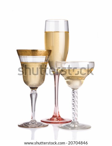 Three different champagne glasses between vintage and contemporary - stock photo