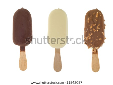 three different chocolate ice lollies isolated on a white background