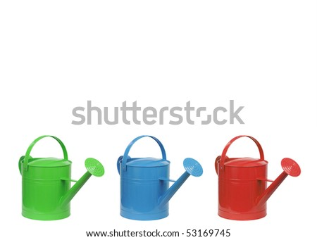 three different color watering can isolated on white - stock photo