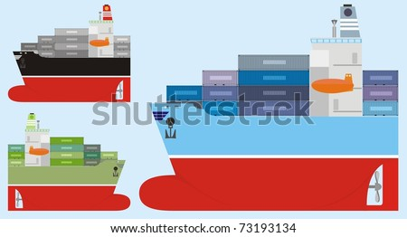 Three different-colored container ships isolated on a light blue background - color raster cartoon illustration - stock photo