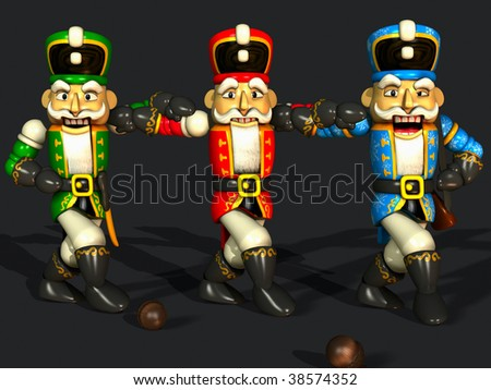 "three different colored nutcrackers are dancing the ""sirtaki"" - stock photo"