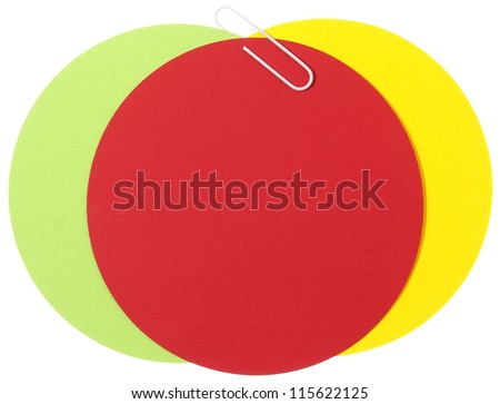 Three different colors paper circles for notion - stock photo