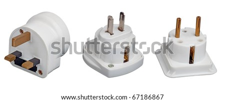 Three different electrical adapters isolated on a white background - stock photo