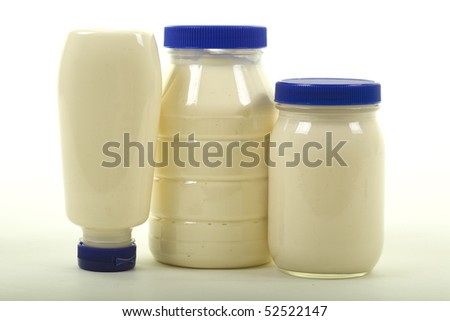 Three different jars with mayonnaise, studio isolated