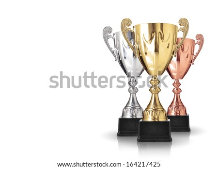 three different kind of trophies isolated on white background - stock photo