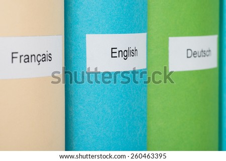 Three Different Learning Languages Books In Row - stock photo