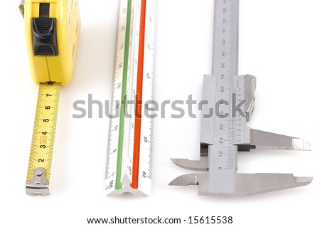 Three different measuring tools isolated - stock photo