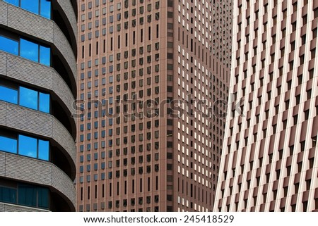 Three different office block styles close together - stock photo