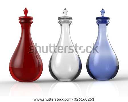 Three different potion bottles