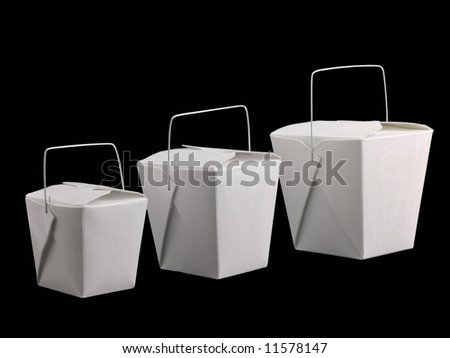 Three different sized chinese take-out boxes - stock photo