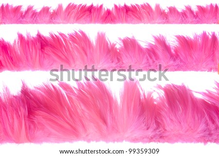 Three different sized strips of bright pink feathers isolated on white perfect for frames, borders or backgrounds - stock photo