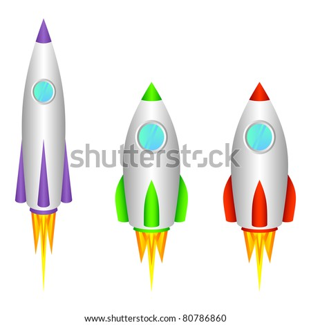 Three different space rockets on a white background.EPS version is available as ID 74912320. - stock photo