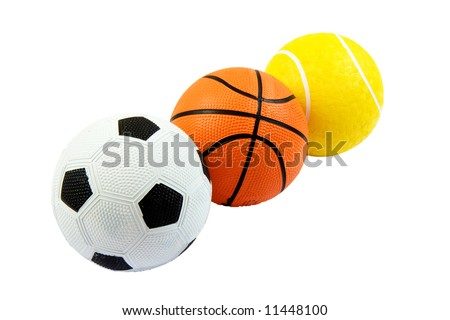 Three different sports balls in a row against white