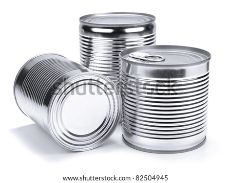 Three different unopened cans isolated on white. - stock photo