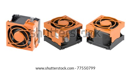Three different views at a server cooling fan in an orange protection cage isolated on pure white.