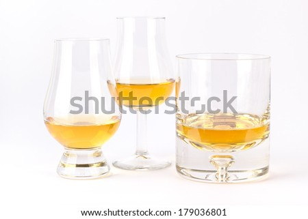 Three different whisky glasses