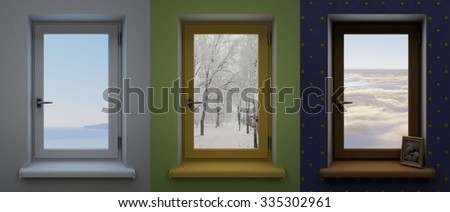Three different windows. Three windows in the interior of different colors with different landscapes.