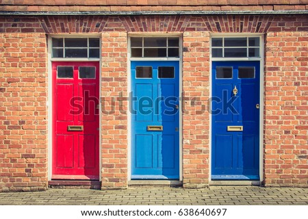 Three Differently Coloured Front Doors Entrance Stock Photo (Royalty Free) 638640697 - Shutterstock  sc 1 st  Shutterstock & Three Differently Coloured Front Doors Entrance Stock Photo (Royalty ...