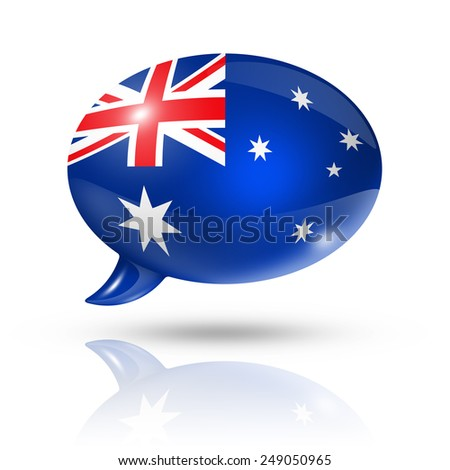 three dimensional Australia flag in a speech bubble isolated on white with clipping path - stock photo