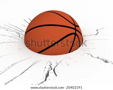 three dimensional basket ball on cracked surface - stock photo