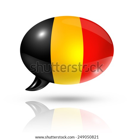 three dimensional Belgium flag in a speech bubble isolated on white with clipping path - stock photo