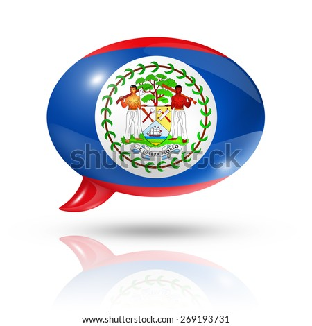 three dimensional Belize flag in a speech bubble isolated on white with clipping path - stock photo