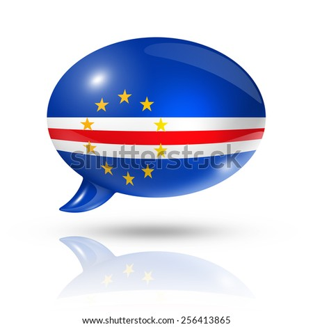 three dimensional Cape Verde flag in a speech bubble isolated on white with clipping path - stock photo