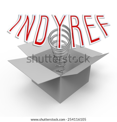 Three-dimensional cardboard box with pop-up caption 'Indyref'. Concept of conducting independence referendum or campaign for public consulting. - stock photo