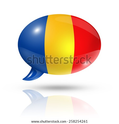 three dimensional Chad flag in a speech bubble isolated on white with clipping path - stock photo