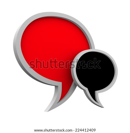 Three dimensional colorful speech bubbles isolated on white background
