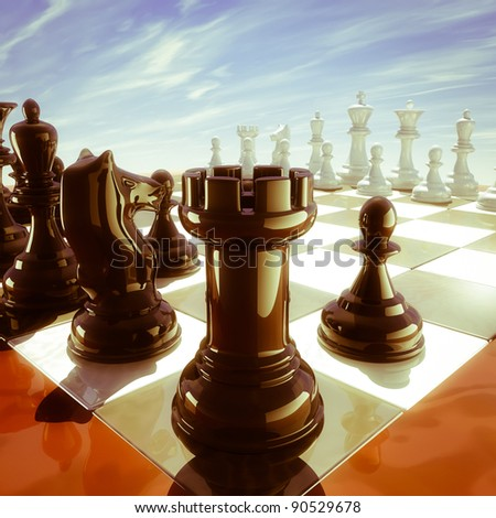 three-dimensional computer generated image of a chess board tower point of view - stock photo