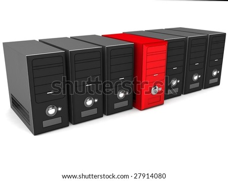 three dimensional cpu in rows - stock photo