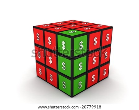 three dimensional currency puzzle cube isolated on white background - stock photo