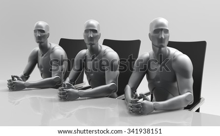 Three dimensional 3d human business meeting and education deal discuss. Government meeting in the Cabinet. Presentation of the new product. Meeting at the business forum. - stock photo