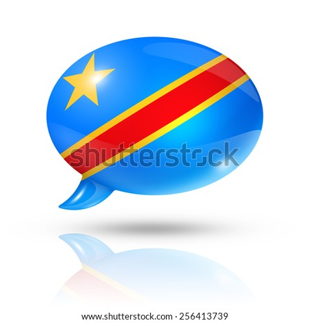 three dimensional Democratic Republic of the Congo flag in a speech bubble isolated on white with clipping path - stock photo