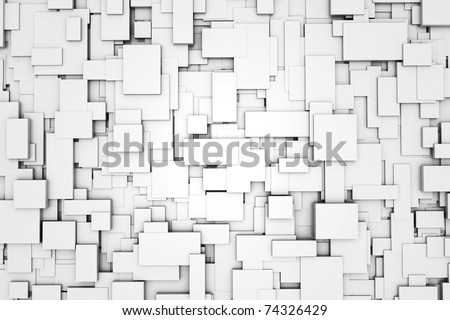 Three-dimensional design from white blocks - stock photo
