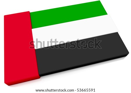 Three dimensional Emirati flag button.  Part of set of country flags all in 2:3 proportion with accurate design and colors. - stock photo
