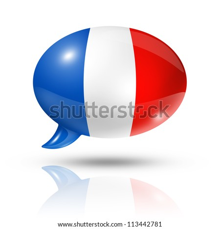 three dimensional France flag in a speech bubble isolated on white with clipping path - stock photo